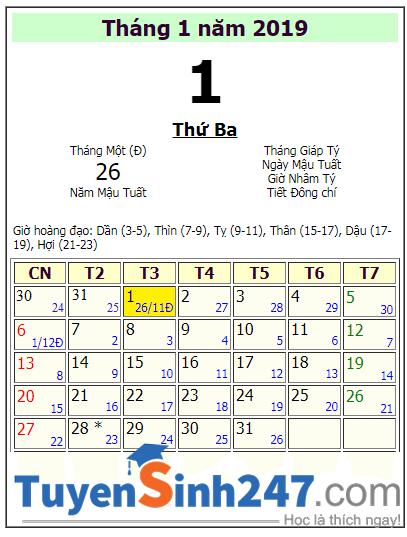 Tet duong lich 2019 vao thu may?