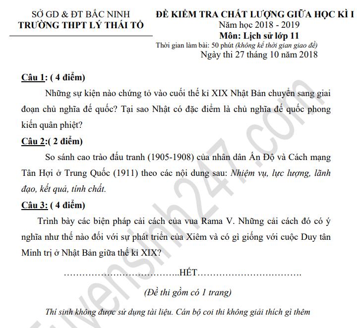 De thi giua hoc ki 1 lop 11 mon Su - THPT Ly Thai To nam 2018