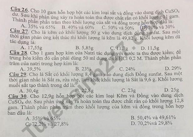 De cuong on tap ki 1 lop 9 mon Hoa THCS Trung Vuong 2018