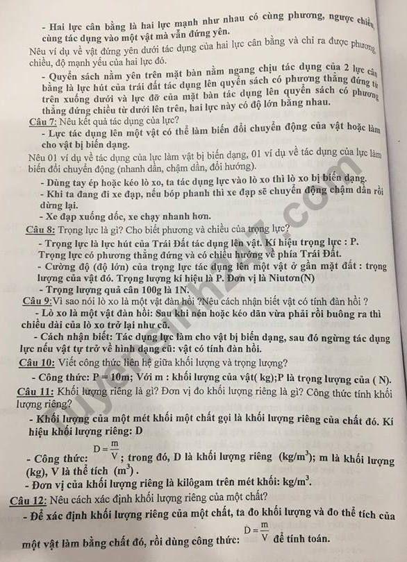 De cuong on tap ki 1 lop 6 mon Ly 2018 - THCS Lang Ha