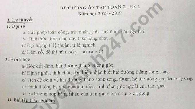 De cuong on tap ki 1 lop 7 mon Toan THCS Hoang Hoa Tham 2018