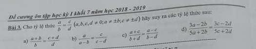 De cuong on tap ki 1 lop 7 mon Toan THCS Quang Trung 2018