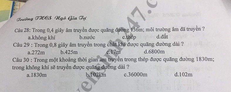 De cuong on tap ki 1 lop 7 mon Ly - THCS Ngo Gia Tu nam 2018