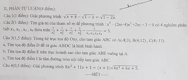 De thi ki 1 lop 10 mon Toan THPT Nhan Chinh 2018