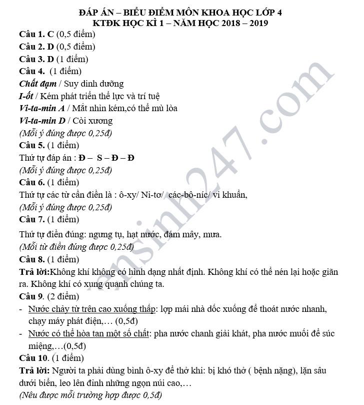 De thi hoc ky 1 lop 4 mon Khoa hoc - Tieu hoc Ha Trung nam 2018