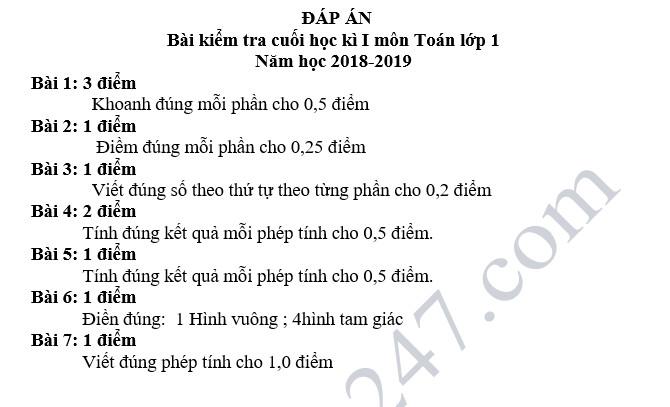 De thi hoc ky 1 lop 1 mon Toan - Tieu hoc Da Kao nam 2018
