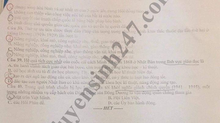 De thi thu THPT mon Su - THPT Chuyen Bac Ninh lan 3 nam 2019