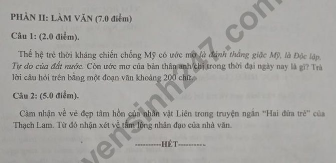 De thi ki 1 lop 11 mon Van So GD Nam Dinh 2018