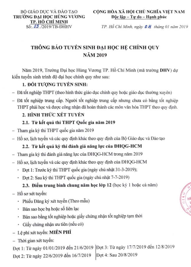 Dai hoc Hung Vuong TPHCM tuyen sinh nam 2019