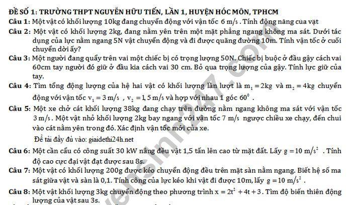 De thi giua ki 2 lop 10 mon Ly - THPT Nguyen Huu Tien
