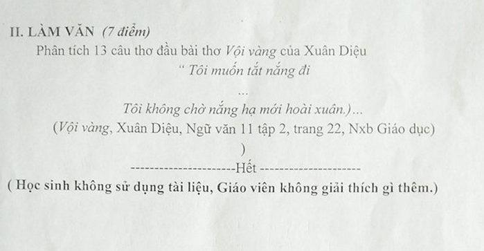 De kiem tra giua ki 2 lop 11 nam 2019 mon Van truong THPT Tran Phu