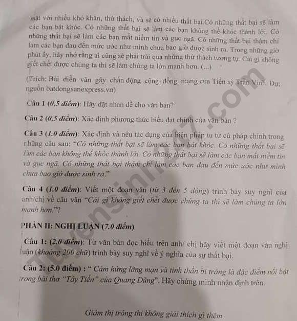 De thi giua ki 2 lop 12 mon Van THPT Ha Thanh 2019