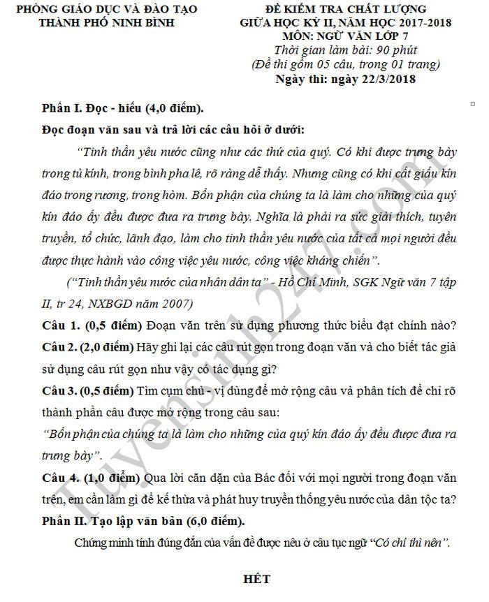 De thi giua hoc ki 2 mon Van lop 7 - Ninh Binh
