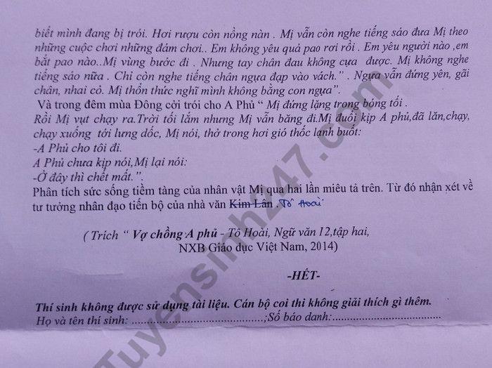 De thi thu THPTQG nam 2019 mon Van truong Chuyen Nguyen Quang Dieu