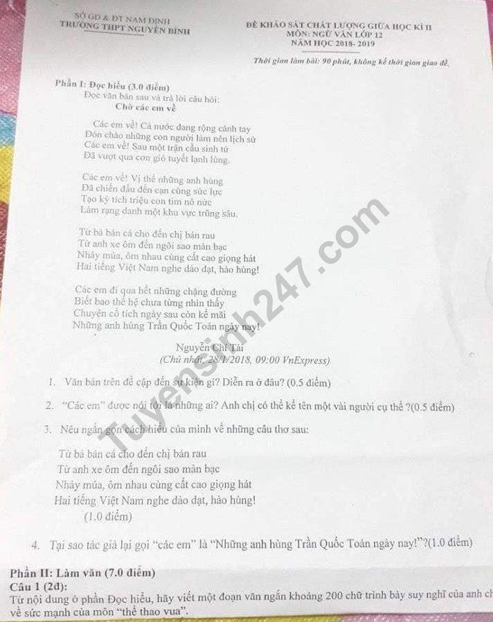 De thi giua hoc ki 2 lop 12 mon Van - THPT Nguyen Binh 2019