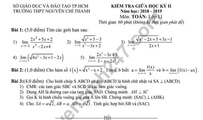 De thi giua hoc ki 2 mon Toan lop 11 - THPT Nguyen Chi Thanh 2019