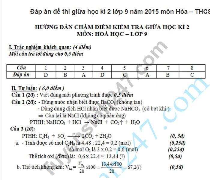 De thi giua hoc ki 2  mon Hoa lop 9 - THCS Cat Hai