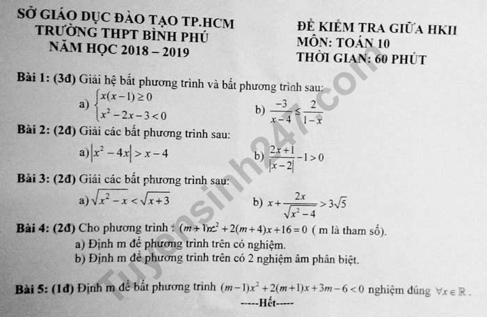 De thi giua ki 2 lop 10 mon Toan THPT Binh Phu 2019