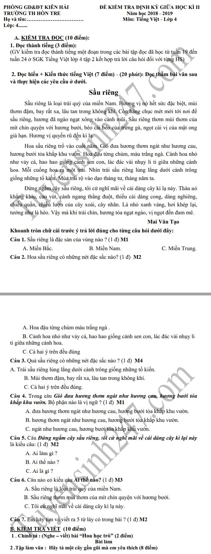 De thi giua ki 2 lop 4 mon Tieng Viet - TH Hon Tre 2019