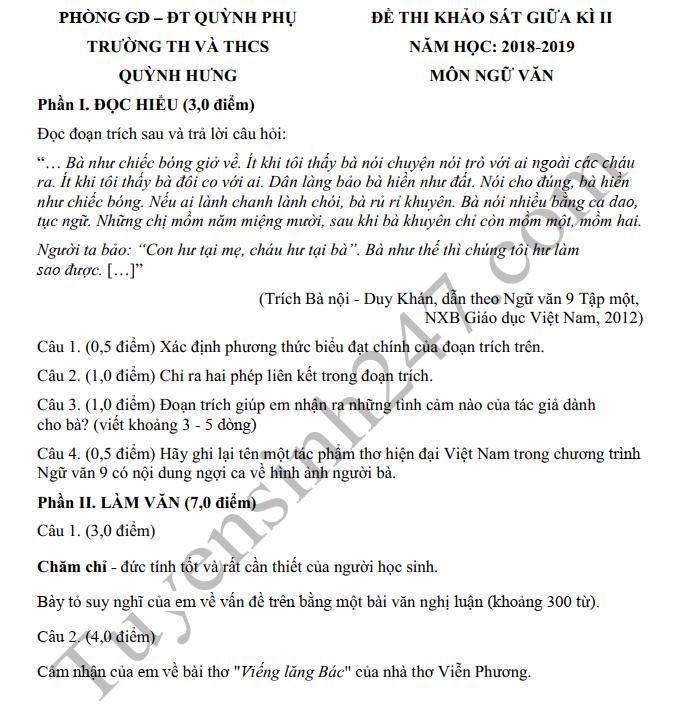 De thi giua ki 2 lop 9 mon Van 2019 - THCS Quynh Hung