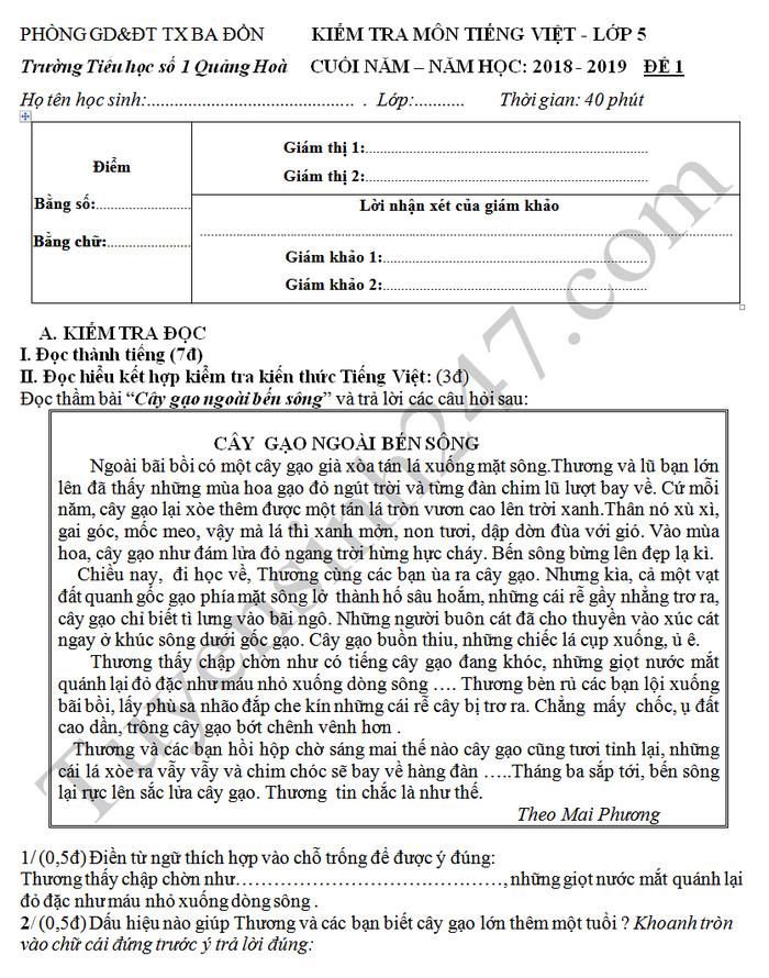 De thi hoc ki 2 Tieng Viet lop 5 - TH So 1 Quang Hoa 2019