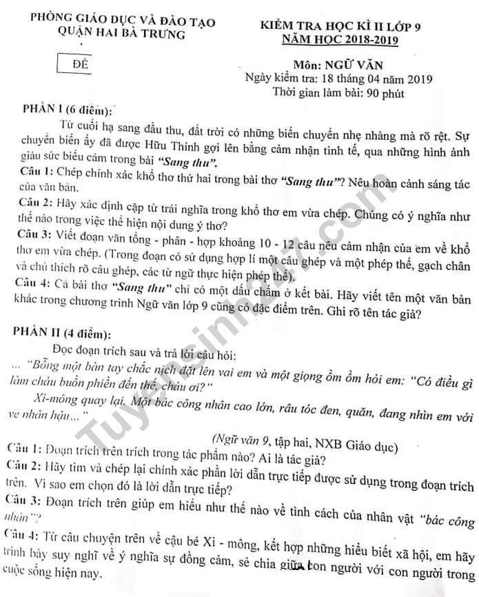 De thi ki 2 lop 9 mon Van Quan Hai Ba Trung 2019