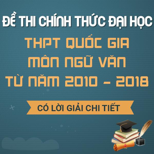 Đề thi chính thức Đại học - THPT Quốc gia môn Ngữ Văn từ năm 2010 - 2019 (có lời giải chi tiết)