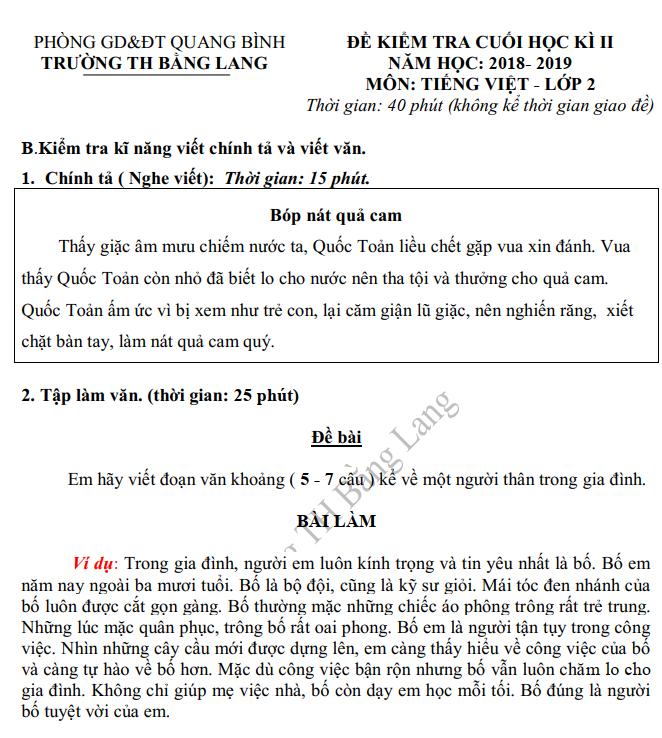 De thi ki 2 lop 2 mon Tieng Viet - TH Bang Lang 2019