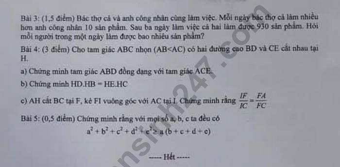 De ki 2 lop 8 mon Toan  Phong GD Dong Xoai 2019