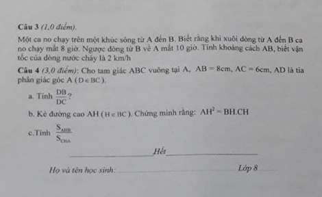 De thi hoc ki 2 lop 8 mon Toan THCS Hai Yen 2019