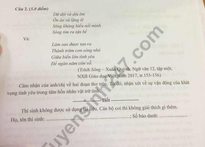 De thi thu THPTQG 2019 mon Van - THPT Tran Nguyen Han lan 3