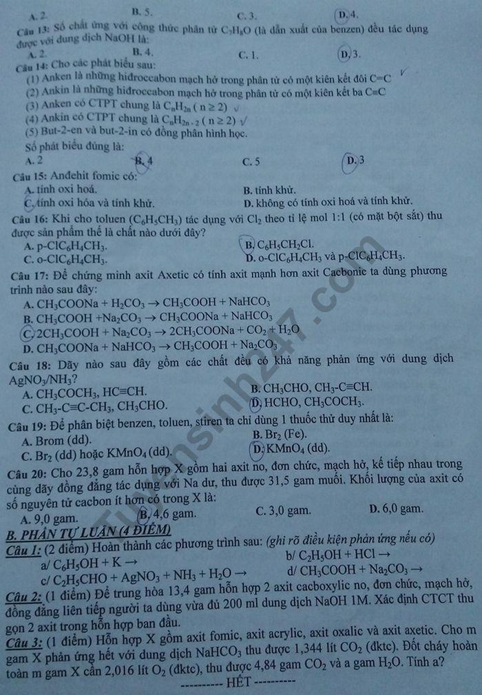 De thi hoc ki 2 lop 11 mon Hoa nam 2019 - THPT So 1 Phu Cat