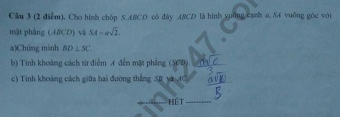De thi hoc ki 2 mon Toan lop 11 - THPT So 1 Phu Cat 2019