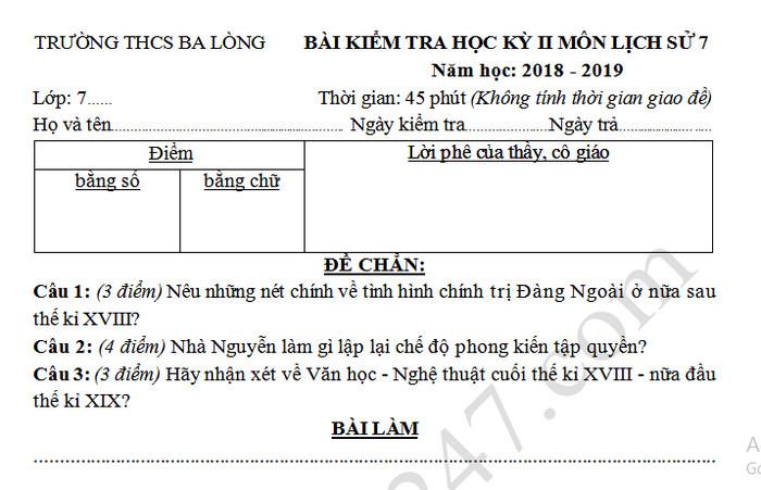 De ki 2 lop 7 mon Su truong THCS Ba Long nam 2019