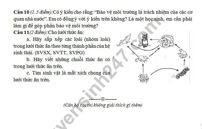 De ki 2 mon Sinh lop 9 - THCS Tra Thanh 2019