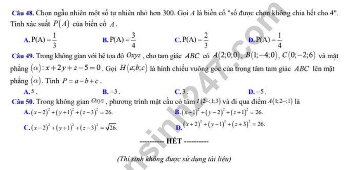 De thi thu THPTQG 2019 mon Toan - THPT Ly Thuong Kiet lan 2