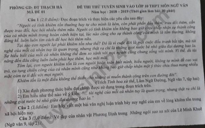 De thi thu vao lop 10 nam 2019 mon Van - Phong GD Thach Ha
