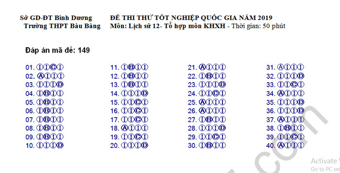 De thi thu THPTQG 2019 mon Su - THPT Bau Bang