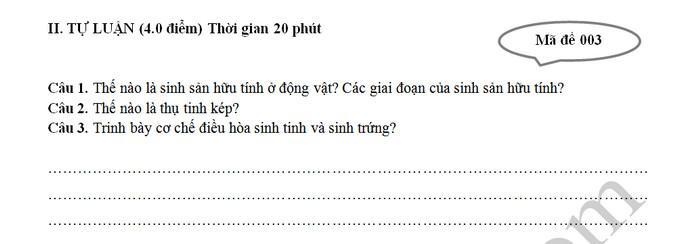 De ki 2 mon Sinh lop 11 - THPT Phan Van Hung nam 2019