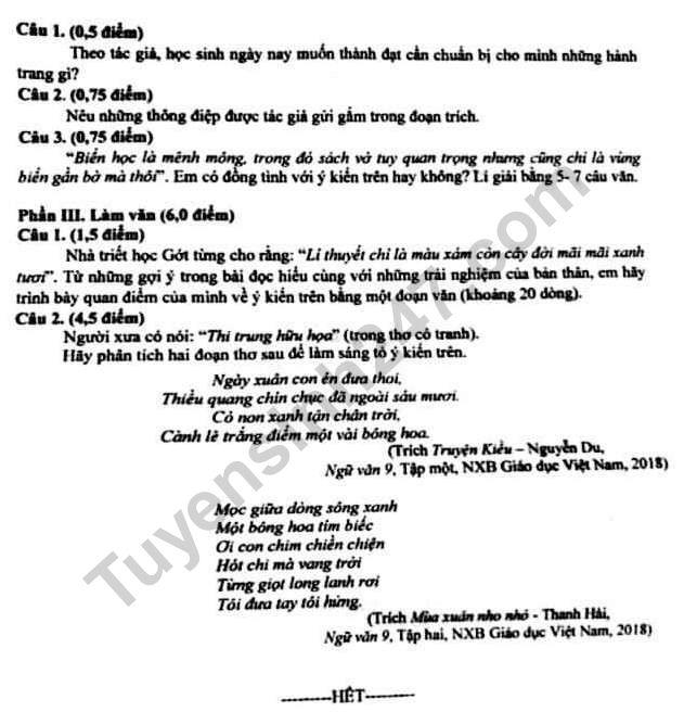 Dap an de thi vao lop 10 mon Van 2019 - THPT Chuyen Le Hong Phong
