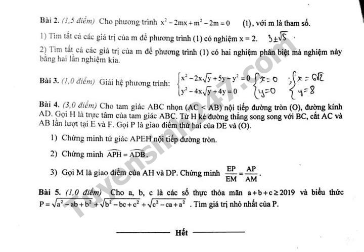 De thi thu vao lop 10 mon Toan nam 2019 cua Phong GD Truc Ninh