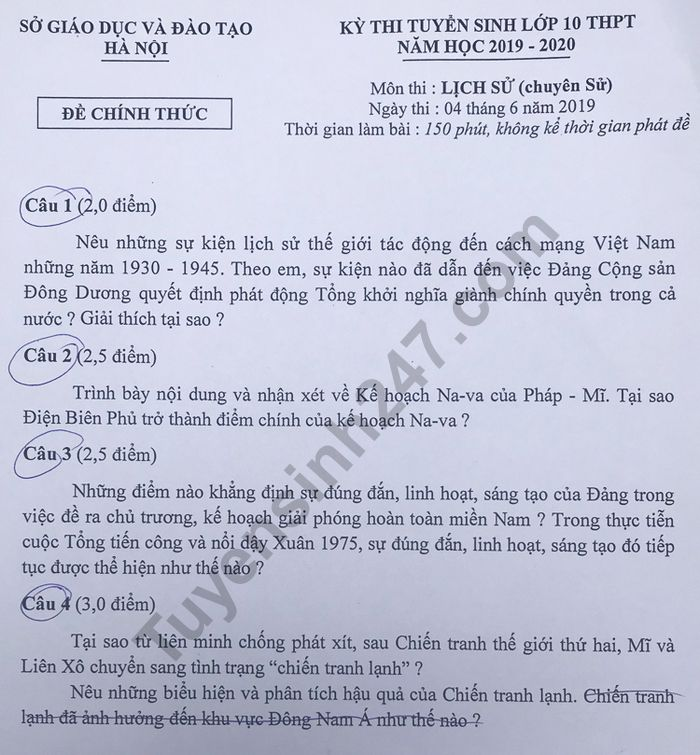 De thi vao lop 10 mon Su chuyen Ha Noi nam 2019