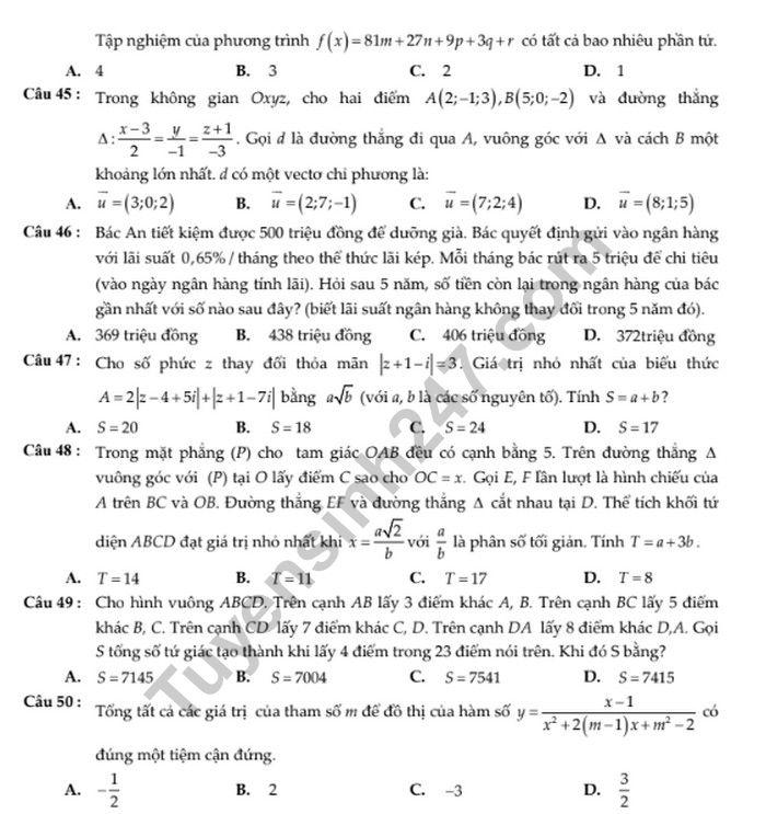 De thi thu THPTQG mon Toan - THPT M.V.Lomonoxop lan 5