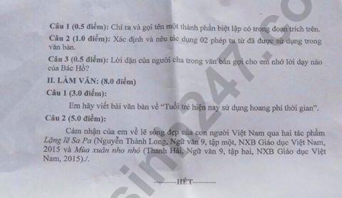 De thi vao lop 10 mon Van Chuyen So GD Kien Giang nam 2019