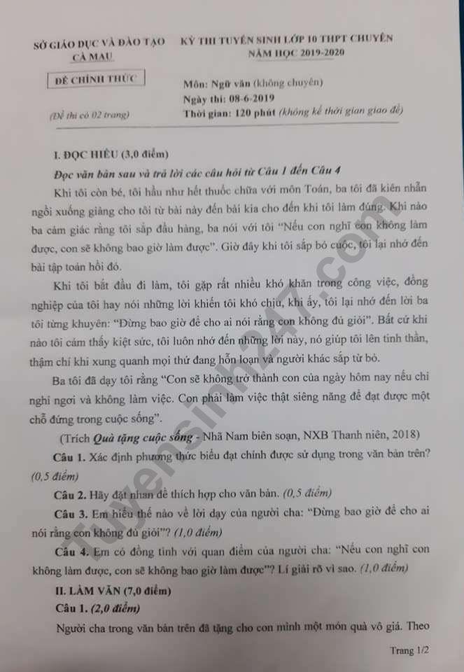 De thi vao lop 10 nam 2019 THPT Chuyen So Ca Mau mon Van (khong chuyen)