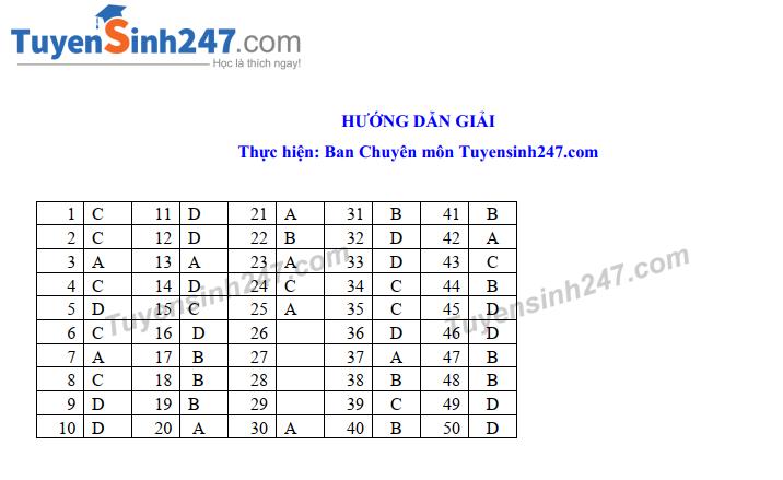 Dap an de thi vao lop 10 So GD Nam Dinh nam 2019 mon Tong hop