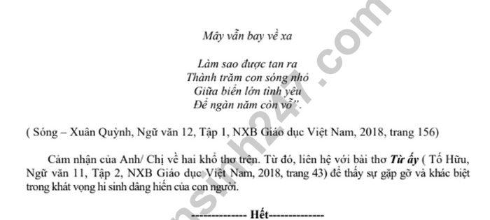 De thi thu THPTQG 2019 mon Van - THPT Doan Thuong lan 2