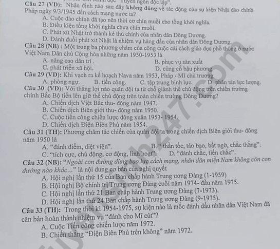 De thi thu THPTQG mon Lich Su nam 2019 THPT Binh Yen