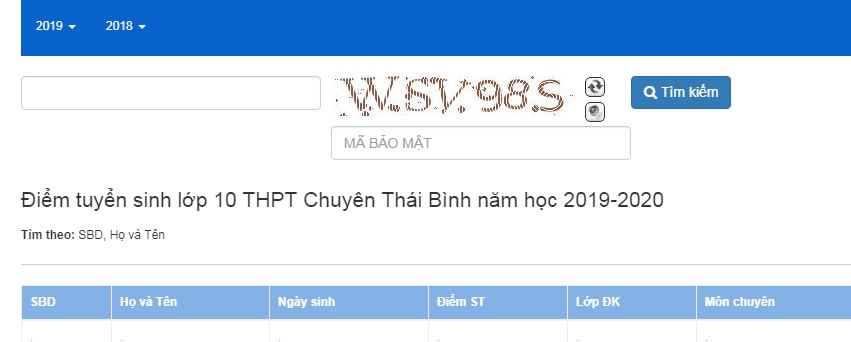 Tra cuu diem thi vao lop 10 Thai Binh nam 2019