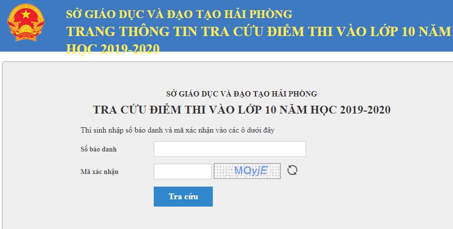 Da co diem thi vao lop 10 So Hai Phong nam 2019
